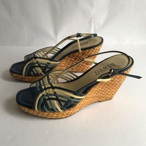 Franco Sarto GHITA Leather Wedge Sandals Size 8